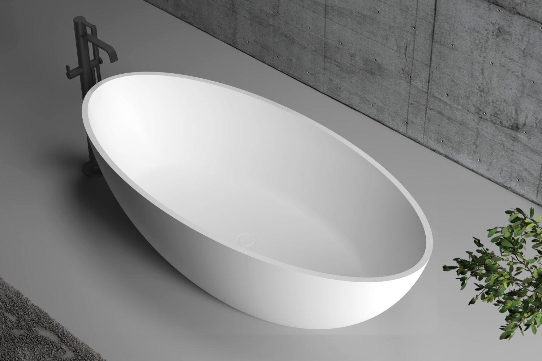 Freistehende Badewanne aus Mineralguss RIO STONE weiß - 180 x 85cm - Wählbar in Matt oder Hochglanz  zoom thumbnail 3