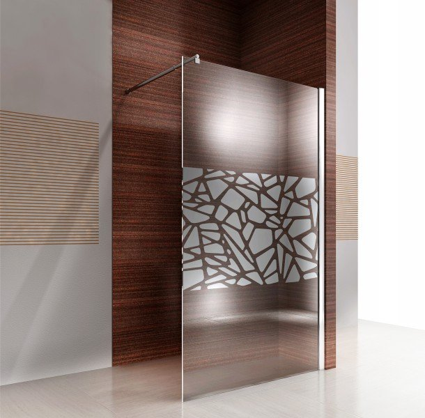 Duschabtrennung Walk-In Nano Echtglas EX101 - Spiegelmuster mittig - Breite wählbar zoom thumbnail 3