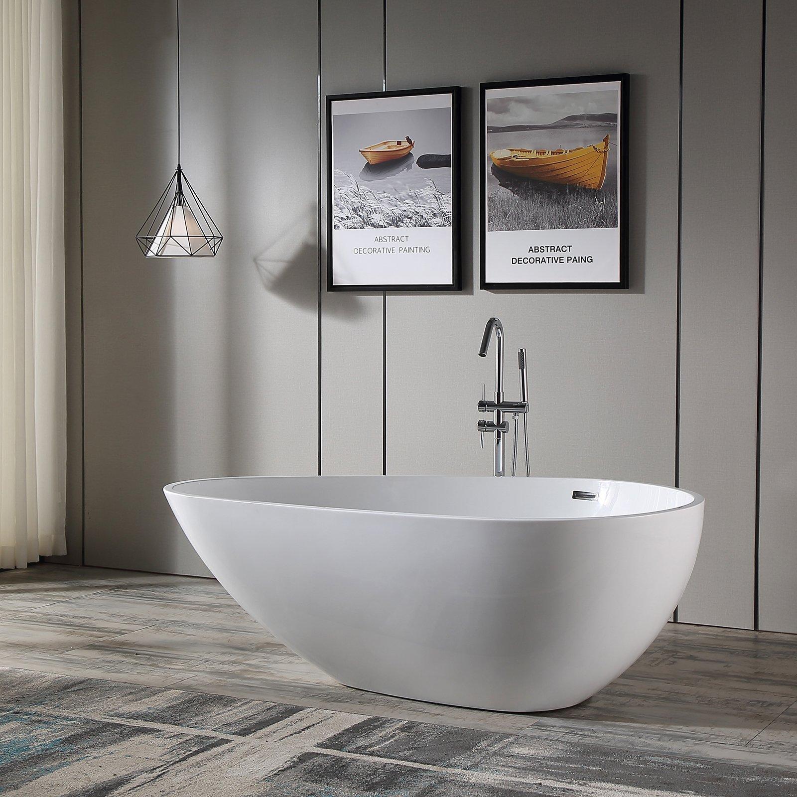 Freistehende Badewanne VENETO Acryl Weiß oder Schwarz/Weiß - Glänzend - 180 x 110 x 60 cm - Standarmatur wählbar zoom thumbnail 4