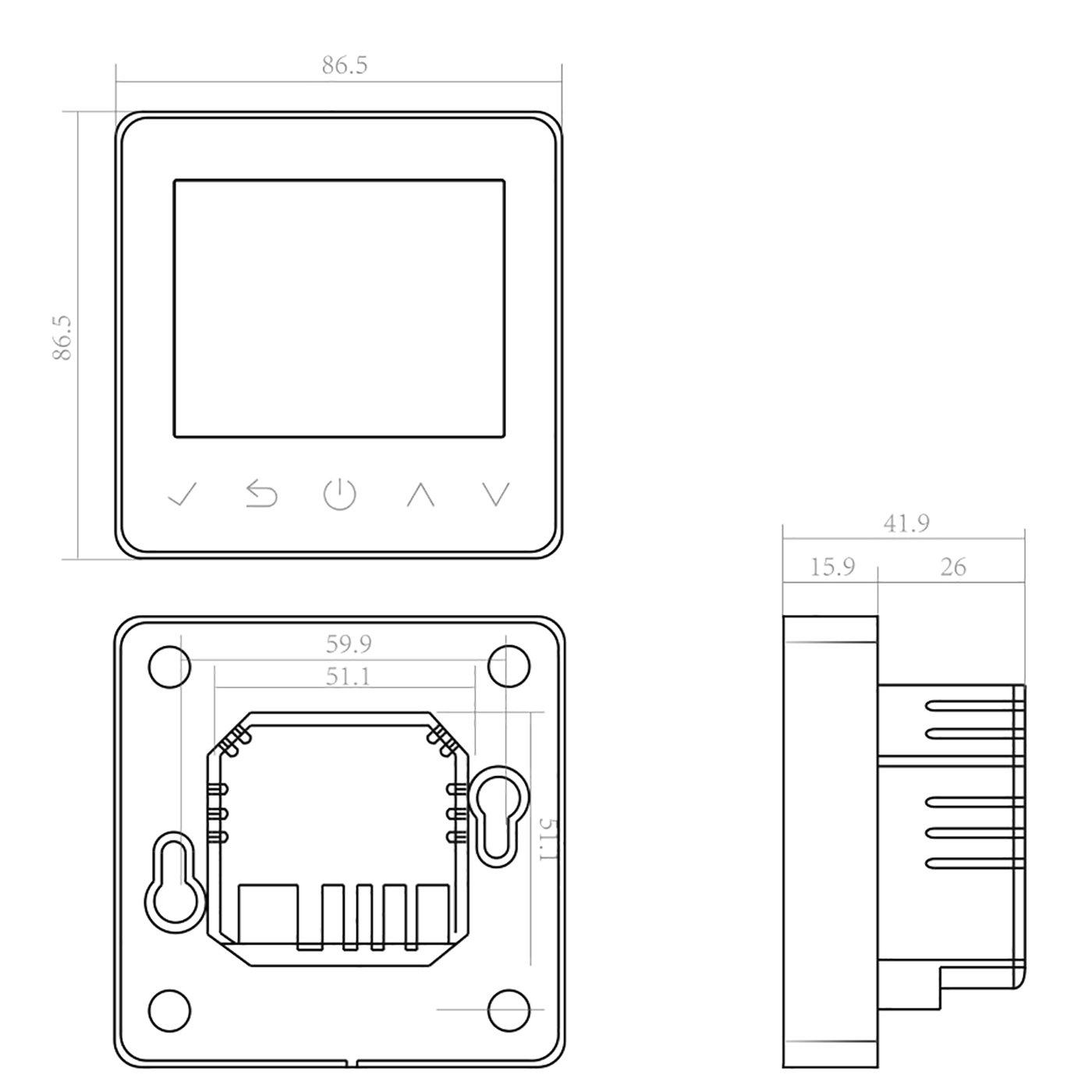 Thermostat ET61W White für elektrische Fußbodenheizung mit TWIN-Technologie - Steuerung über Smartphone zoom thumbnail 6