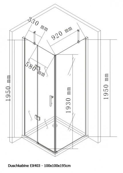 Duschkabine Eckdusche Nano EX403 - 100 x 100 x 195 cm inkl. Duschtasse zoom thumbnail 4