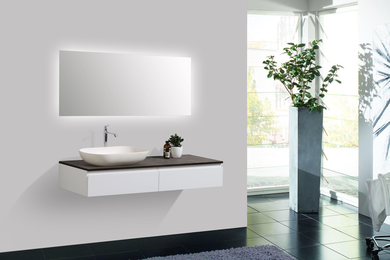 Badmöbel Vision 1200 Weiß matt - Spiegel und Aufsatzwaschbecken optional