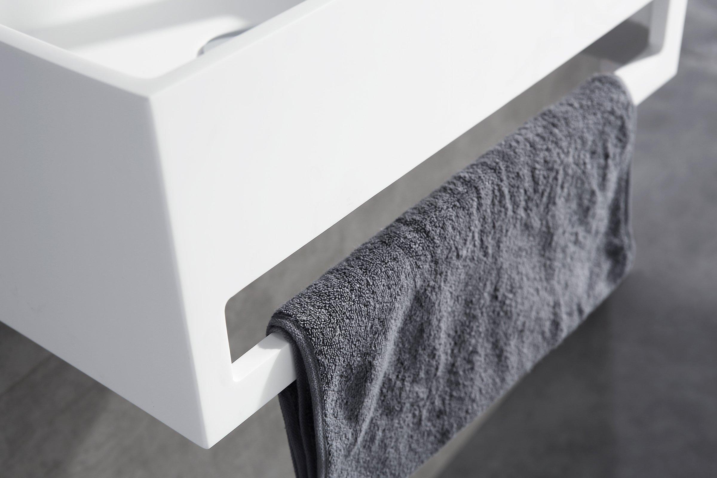 Wandwaschbecken PB2077 aus Mineralguss Solid Stone mit integriertem Handtuchhalter - 50 x 30 x 20 cm - Weiß Matt zoom thumbnail 3