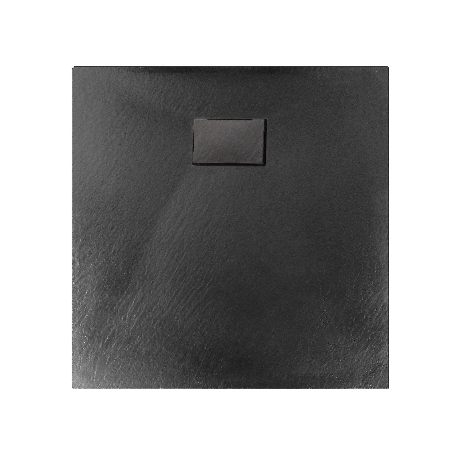 Duschtasse Duschwanne rechteckig GT-Serie in Schwarz aus SMC - Breite: 80 cm -  Zubehör wählbar