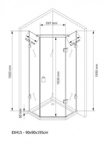 Duschkabine Fünfeckdusche NANO Echtglas EX415 - 90x90x195cm zoom thumbnail 4