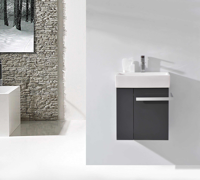 Badmöbel-Set Compact 500 für Gäste-WC - Anthrazit matt zoom thumbnail 3