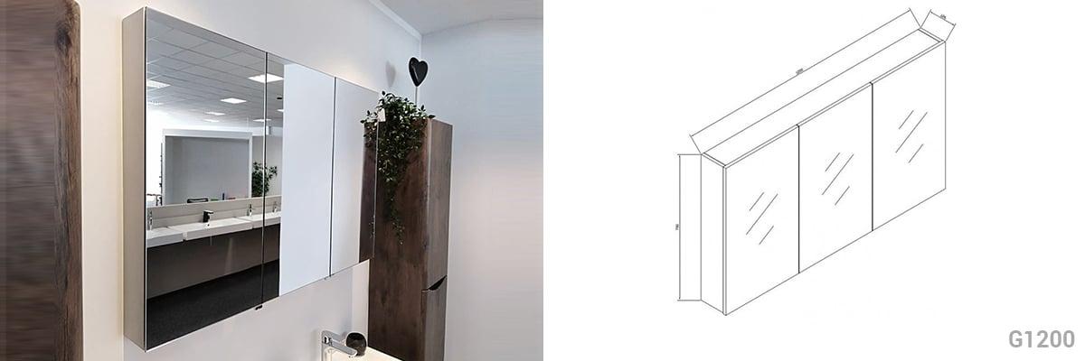 Badmöbel Set N1200 walnuss invers - Spiegel und Seitenschränke optional zoom thumbnail 3