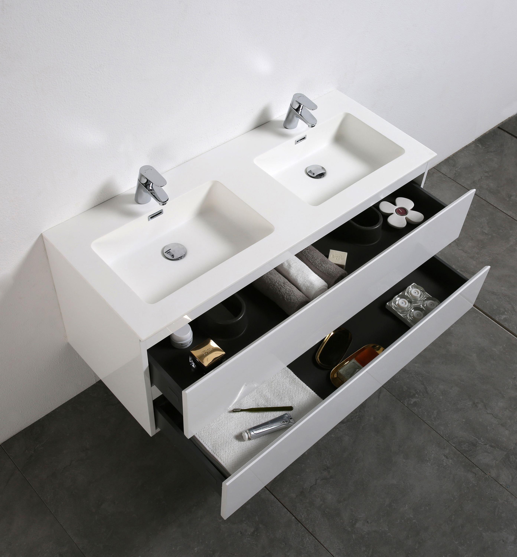 Badmöbel-Set Alice 1200 Hochglanz Weiß - Spiegel und Seitenschränke optional