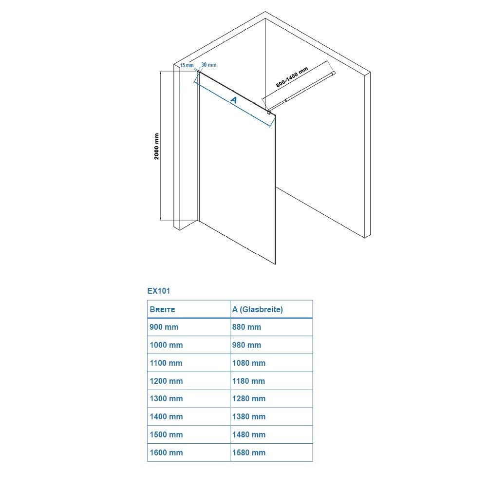Duschabtrennung Walk-In Nano Echtglas EX101 - Spiegelmuster mittig - Breite wählbar zoom thumbnail 6