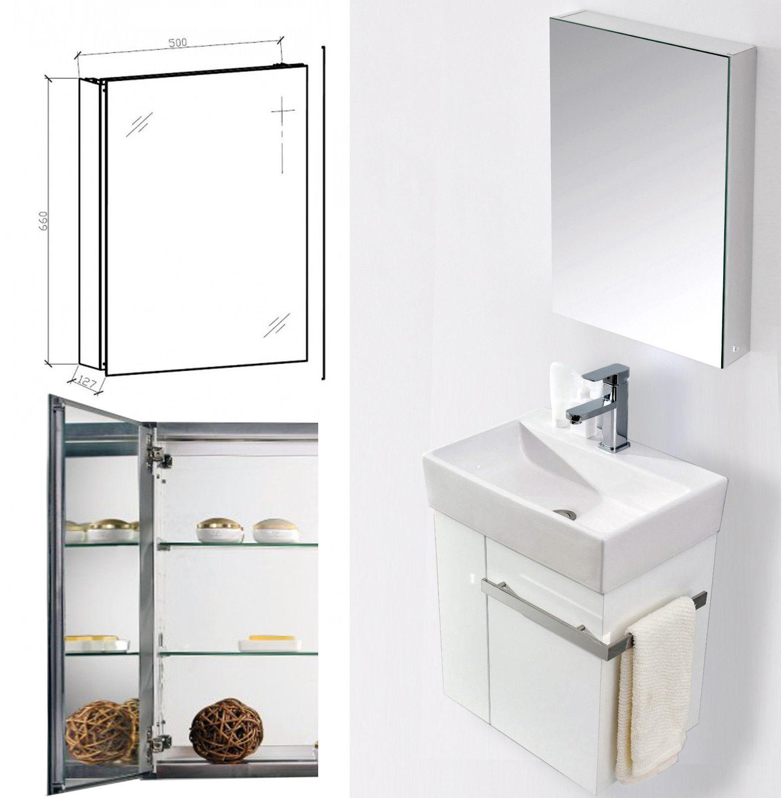 Aluminium-Spiegelschrank G500 - innen und außen Spiegel