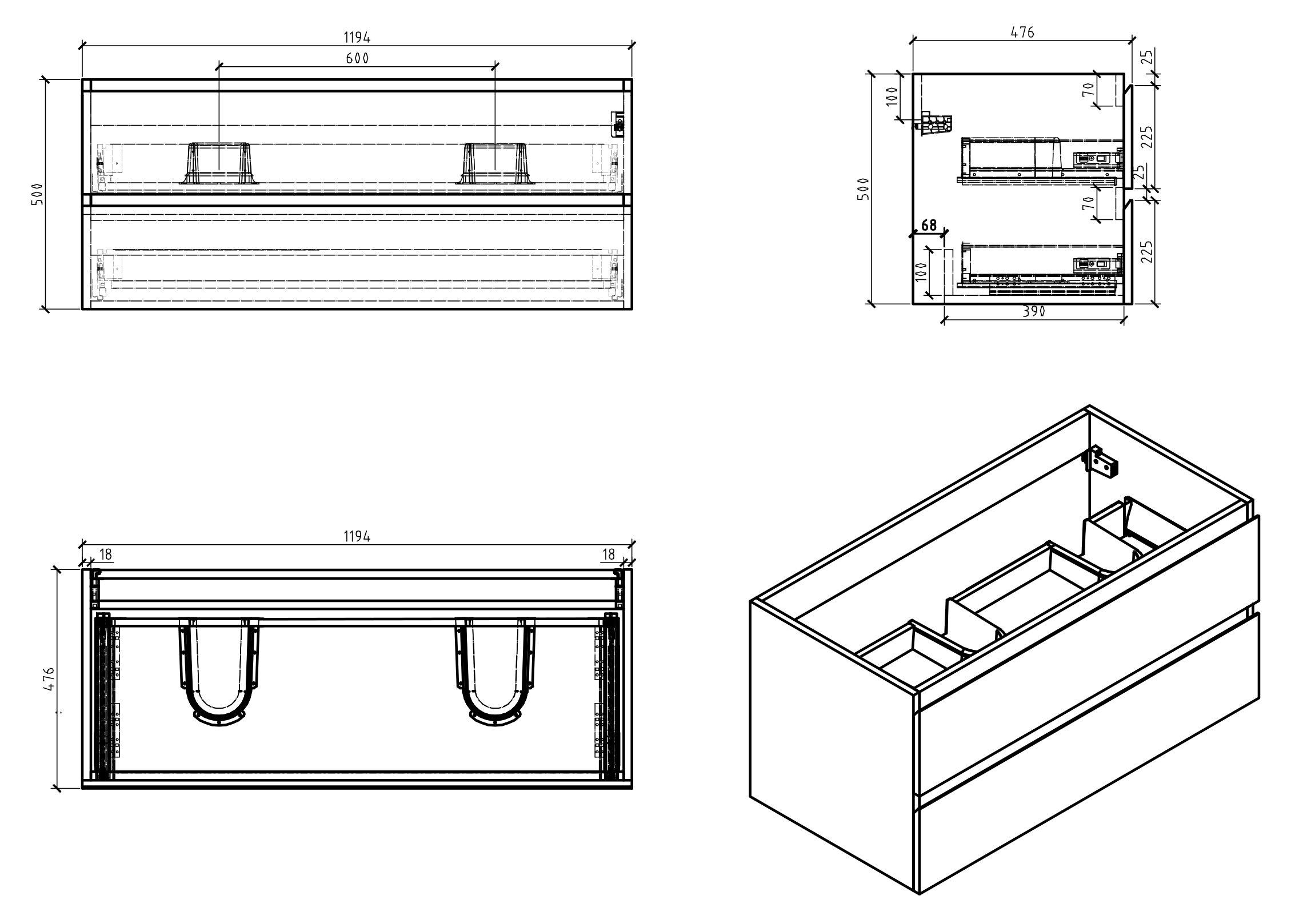 Badmöbel-Set Alice 1200 Beton-Optik - Spiegel und Seitenschränke optional zoom thumbnail 3