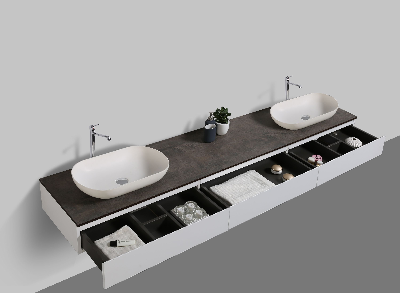 Badmöbel Vision 2250 Weiß matt - Aufsatzwaschbecken optional zoom thumbnail 4