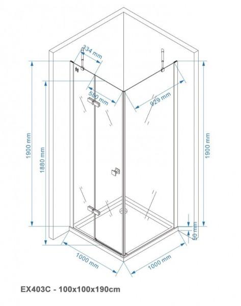 Duschkabine Eckdusche EX403C 6mm NANO Echtglas - 100x100x190cm  zoom thumbnail 6