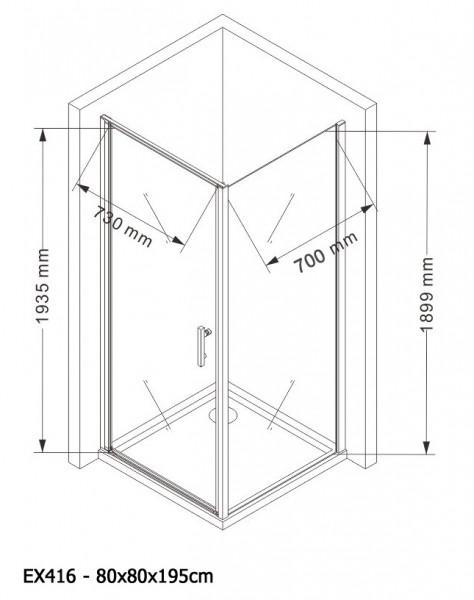 Duschkabine Eckdusche 8 mm Nano Echtglas EX416 - 80 x 80 x 195 cm zoom thumbnail 5