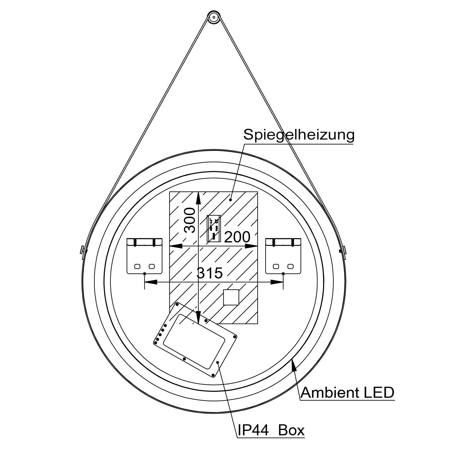 LED Lichtspiegel Badspiegel 2805 mit Spiegelheizung & Warm-/Kaltlichteinstellung - Rund Ø 60 cm zoom thumbnail 3