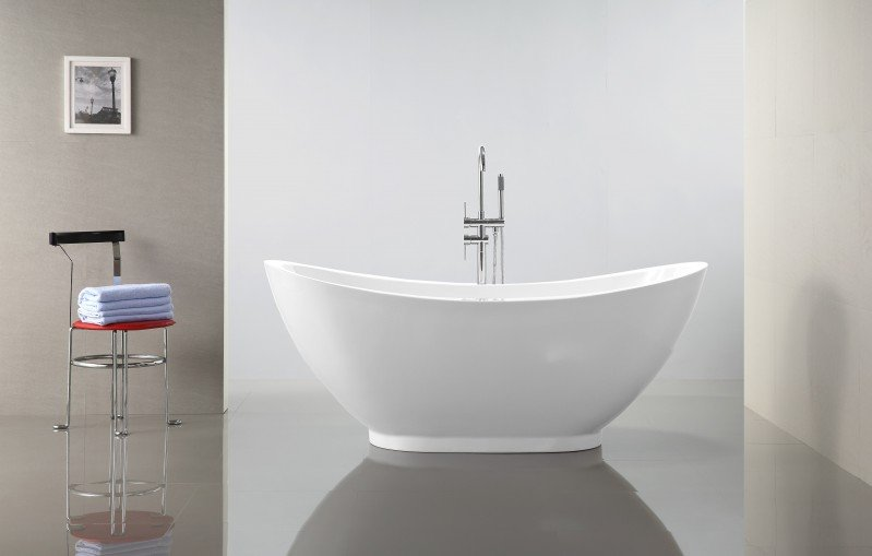 Freistehende Badewanne VALENZIA Acryl Weiß - 175x85cm - Standarmatur optional wählbar