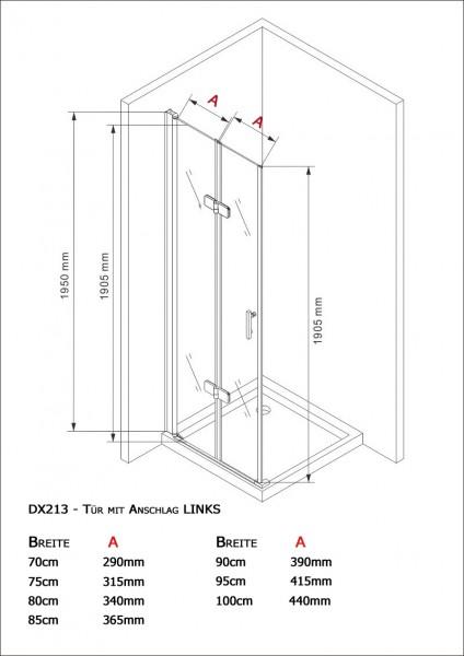 Duschkabine Eckdusche 8 mm Nano Echtglas DX213 - Breite wählbar zoom thumbnail 5