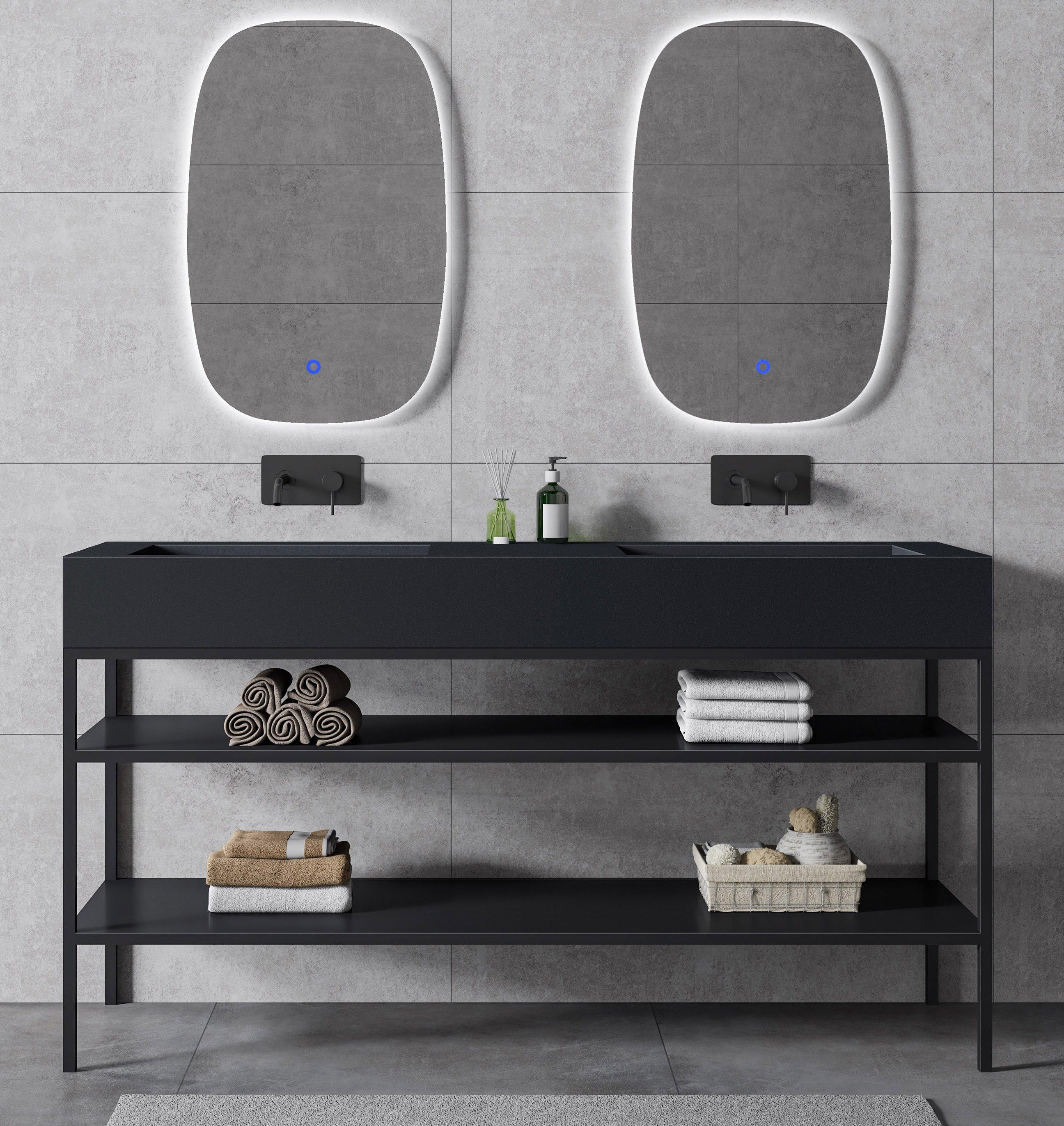 Waschbecken Metallkonsole 150S stehend - Schwarz matt - passendes Untergestell für BERNSTEIN Waschbecken TWG16