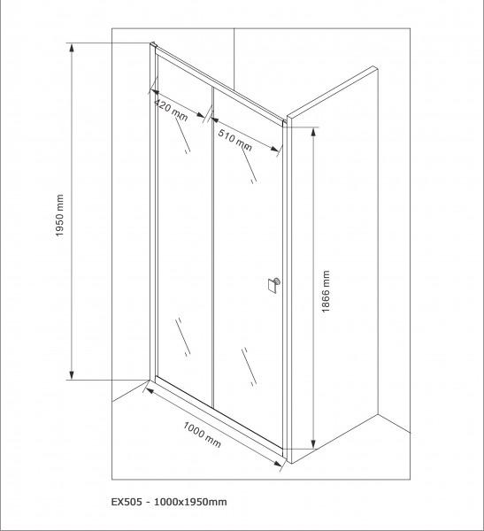 Duschabtrennung Schiebetür NANO Echtglas EX505 - Klarglas - Höhe 195cm - Breite wählbar zoom thumbnail 6