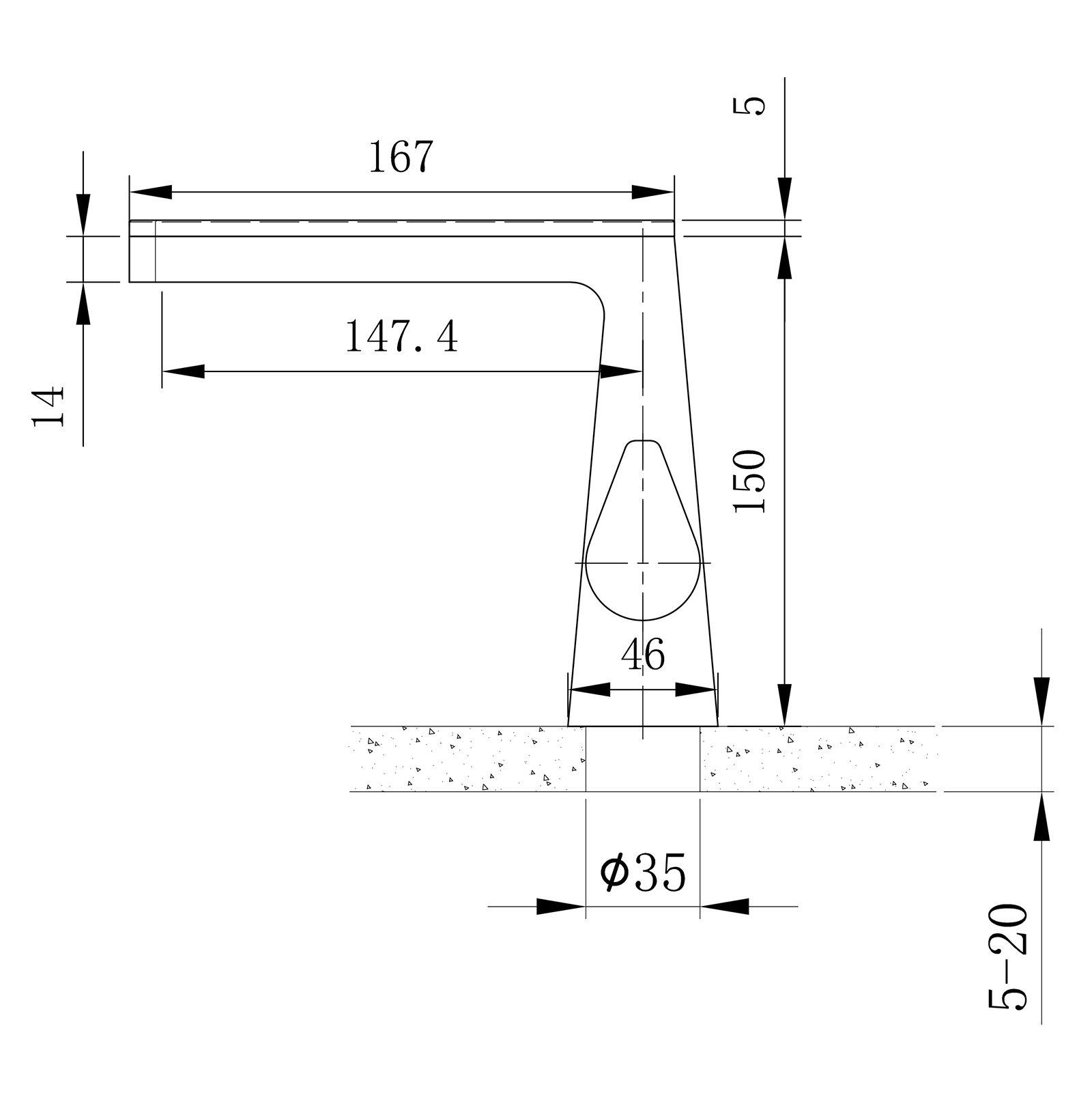 Design Wasserfall Waschtischarmatur NT7320 - Wasserhahn in Schwarz matt, Weiß matt, Gunmetal zoom thumbnail 6