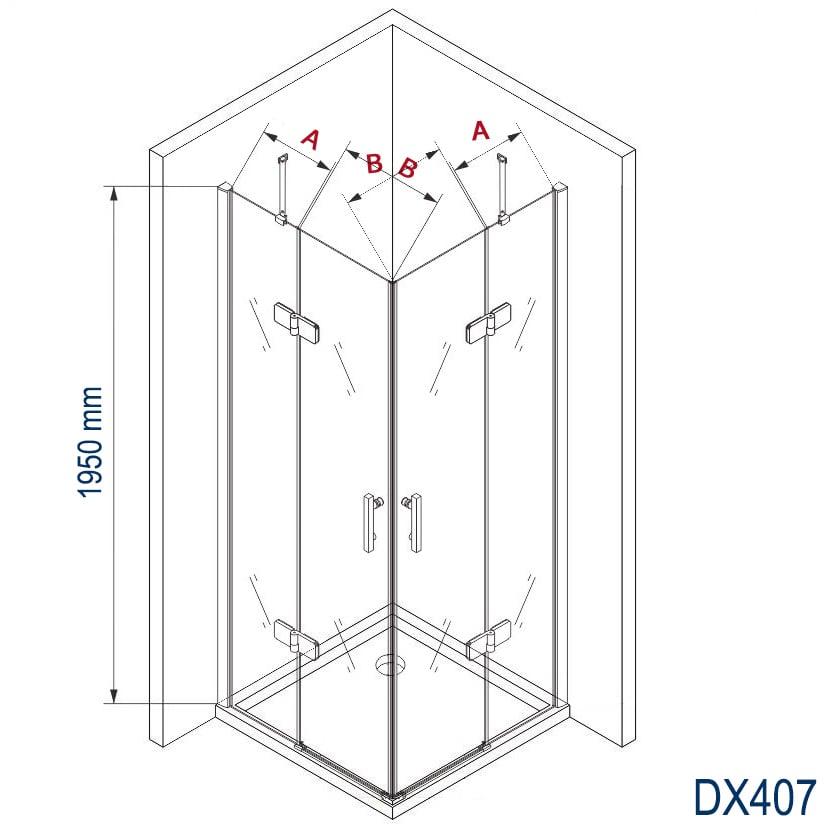 Duschkabine Eckdusche 8 mm Nano Echtglas DX407 - Breite wählbar