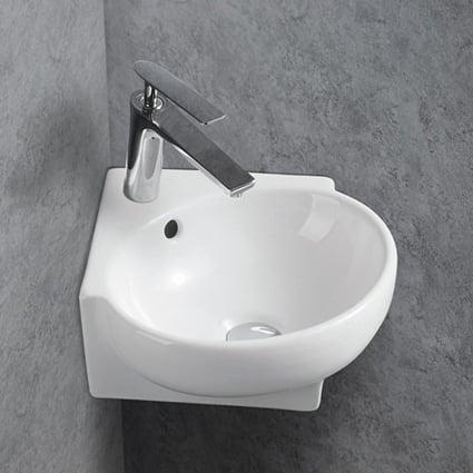 Eckwaschbecken aus Keramik KW198A für Gäste-WC - 39,5 x 36,5 x 14 cm - Wandwaschbecken Weiß glänzend