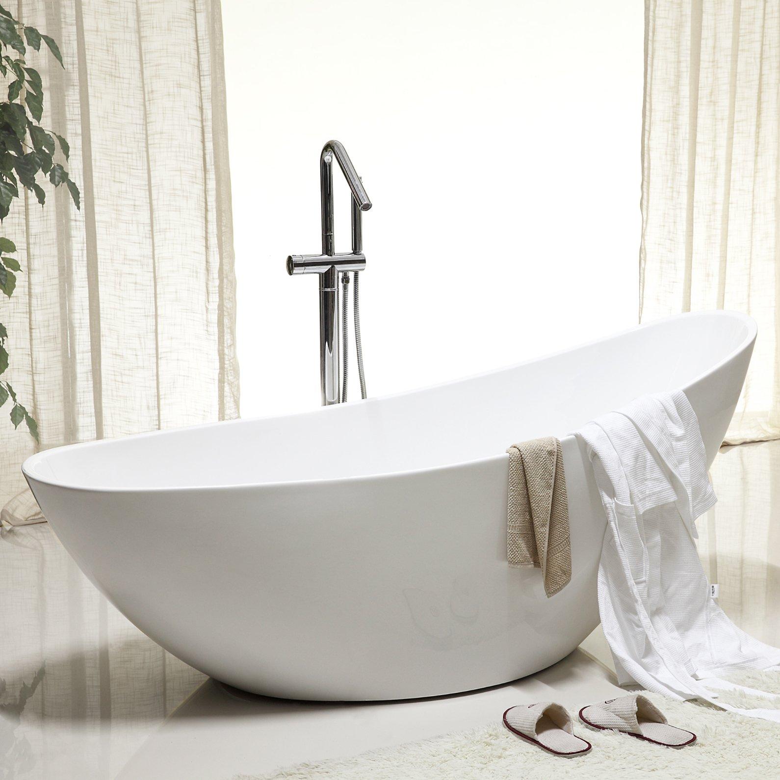 Freistehende Badewanne VICE aus Acryl - 183,5 x 78,5 x 77 cm - Farbe & Standarmatur wählbar