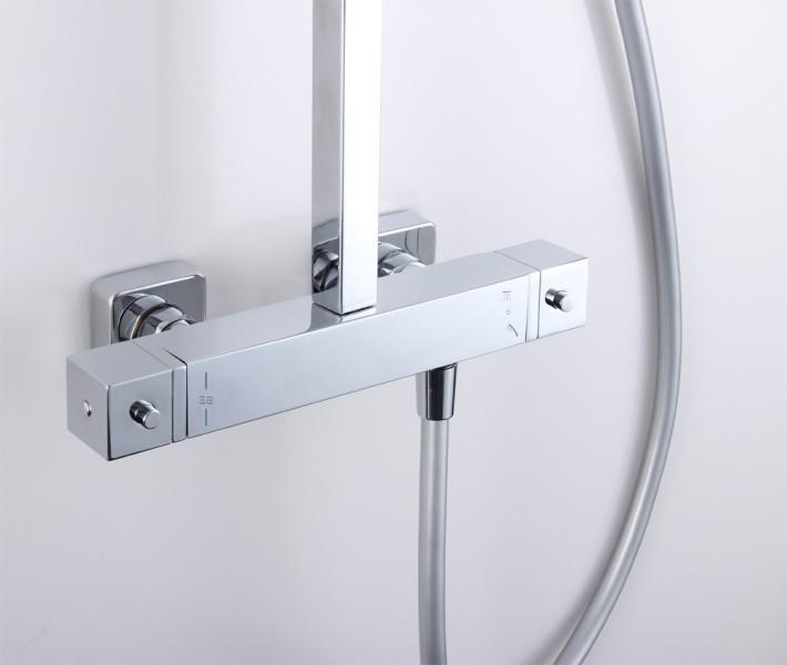 Design-Duschsäule Thermostat 3011 Basic inkl. Handbrause - Auswahl Duschkopf eckig & rund zoom thumbnail 4