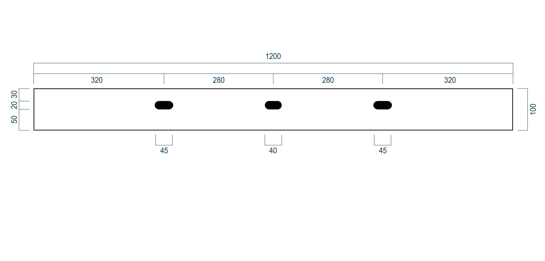 Wandwaschbecken Aufsatzwaschbecken BS6001 mit 2 Armaturlöchern - Breite 120 cm  zoom thumbnail 5