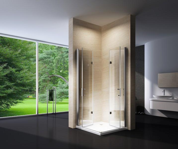 Duschkabine Eckeinstieg Falttür Nano Echtglas EX213 - 100 x 100 x 195 cm