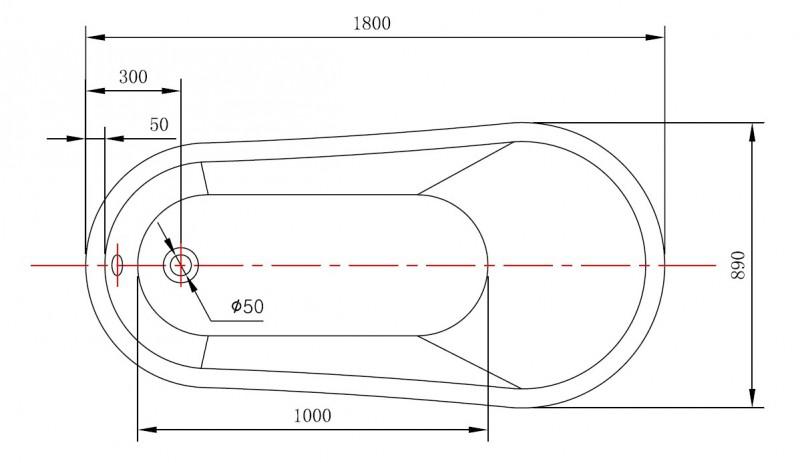 Freistehende Badewanne MAILAND Acryl weiß - 180x89cm - Standarmatur optional zoom thumbnail 5
