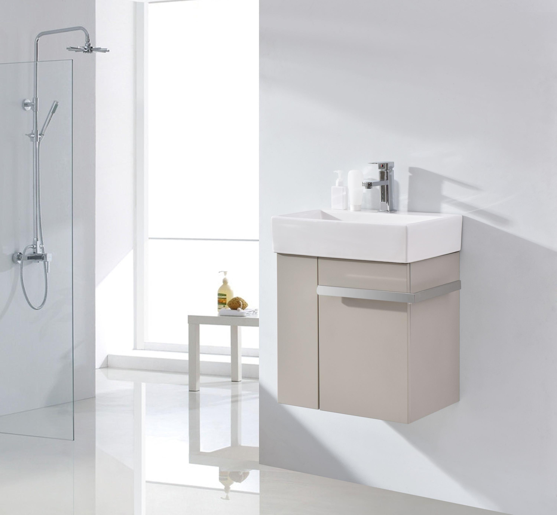 Badmöbel-Set Compact 500 für Gäste-WC - Taupe hell matt
