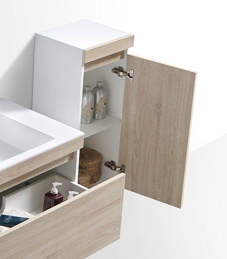 Badmöbel-Set Easy 1200 Weiß inkl. Seitenschrank - Front Eiche hell - Spiegel optional zoom thumbnail 6
