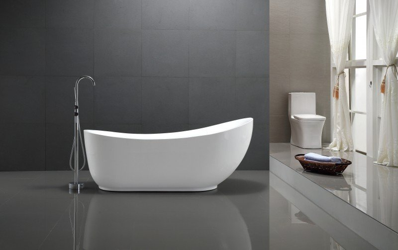 Freistehende Badewanne MAILAND Acryl weiß - 180x89cm - Standarmatur optional