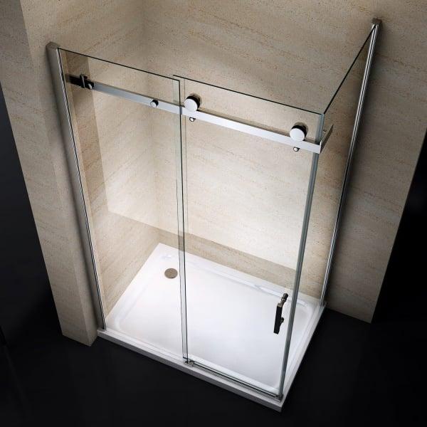 Eckdusche mit Schiebetür EX802 - 90 x 140 x 195cm - Glasstärke & Duschtasse wählbar