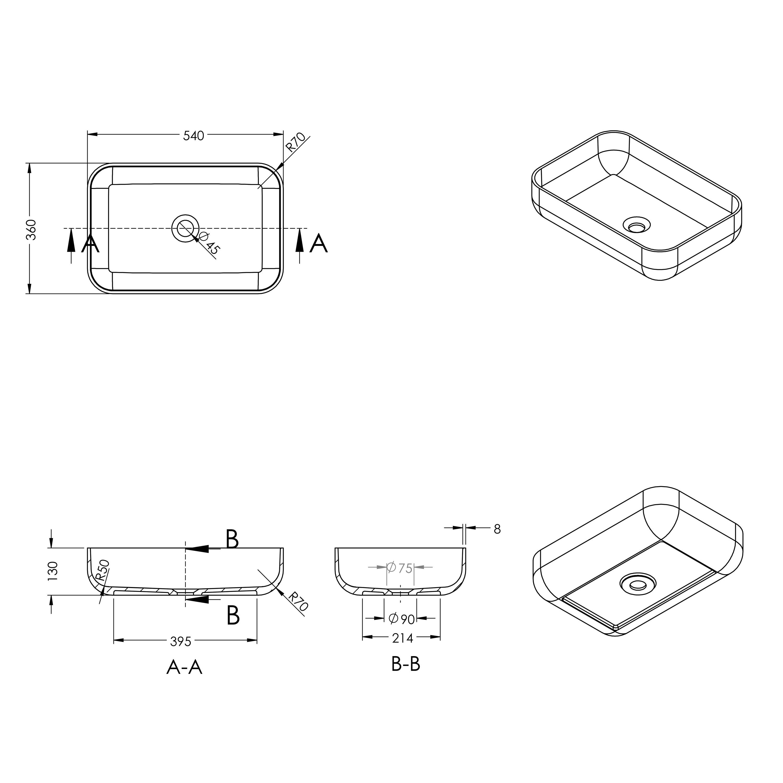 Aufsatzwaschbecken PB2133 aus Mineralguss - in Weiß oder Schwarz - 54 x 36 x 13 cm zoom thumbnail 4