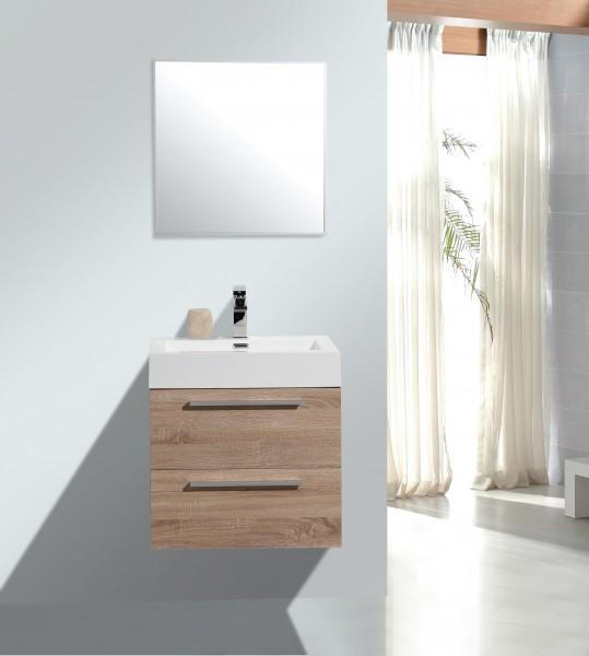 Badmöbelset M600 Eiche geweißt - Badspiegel optional wählbar