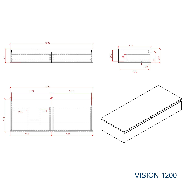 Badmöbel Vision 1200 Weiß matt - Spiegel und Aufsatzwaschbecken optional zoom thumbnail 5
