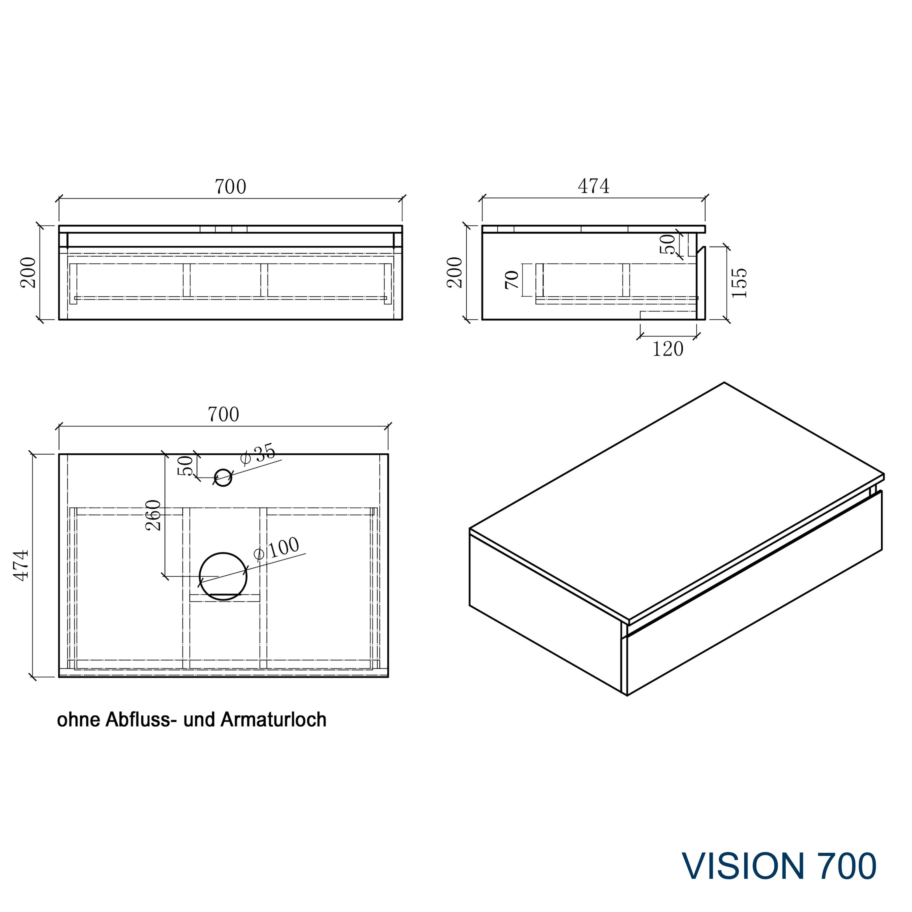Badmöbel Vision 700 Weiß matt - Spiegel und Aufsatzwaschbecken optional zoom thumbnail 4
