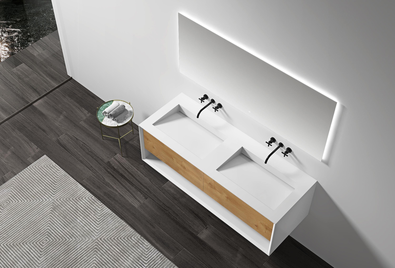 Badmöbel-Set Fiona Open Storage 1400 Weiß matt - Front Eiche-Optik - Seitenschrank & Spiegel optional