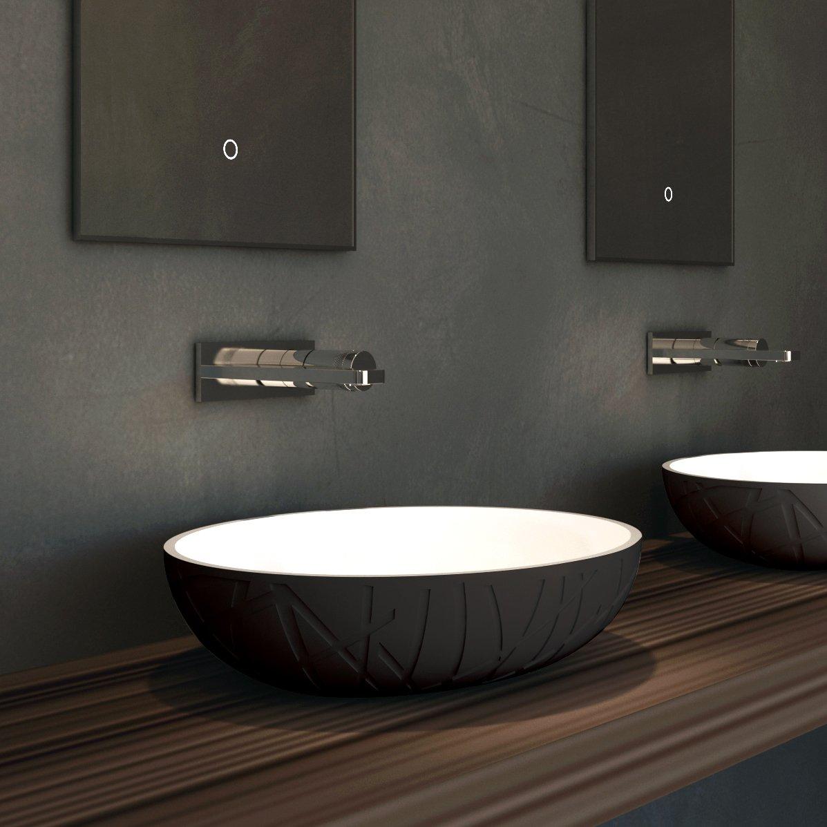 Design Aufsatzwaschbecken LEO aus Mineralguss - 50 x 40 x 12 cm - Farbe wählbar