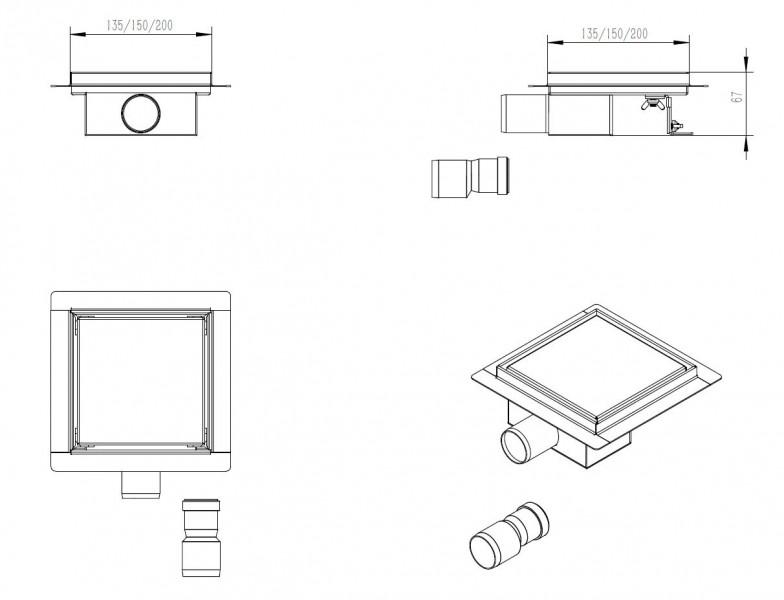 Edelstahl-Duschrinne T02 Bodenablauf für Duschkabine - inkl. Ablaufblende - Größe wählbar zoom thumbnail 4