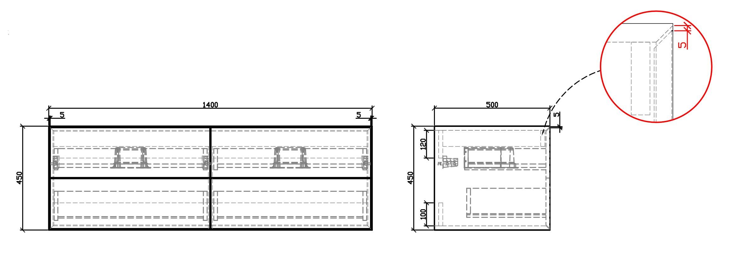 Badmöbel Milou 1400 Weiß matt - Spiegel und Aufsatzwaschbecken optional zoom thumbnail 3