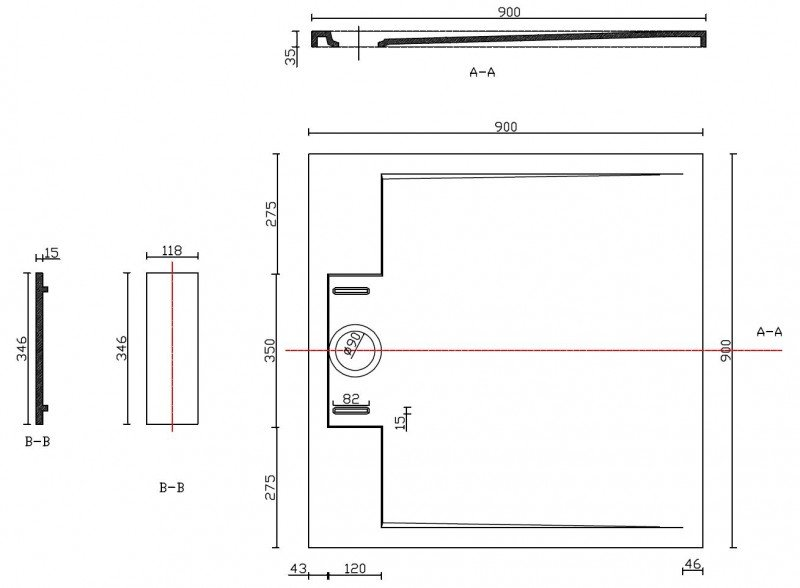 Mineralguss Duschtasse quadratisch M9090CG / PB3087GG - Grau glänzend - 90x90x3,5cm zoom thumbnail 6
