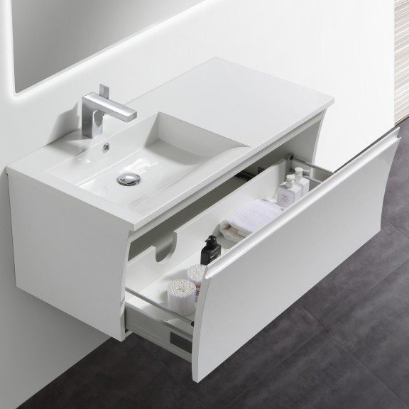 Badmöbel-Set Y1000 Weiß Hochglanz - Badspiegel optional wählbar zoom thumbnail 3