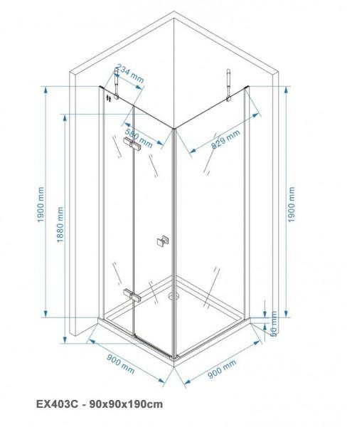Duschkabine Eckdusche EX403C 6mm NANO Echtglas  - 90x90x190cm  zoom thumbnail 6
