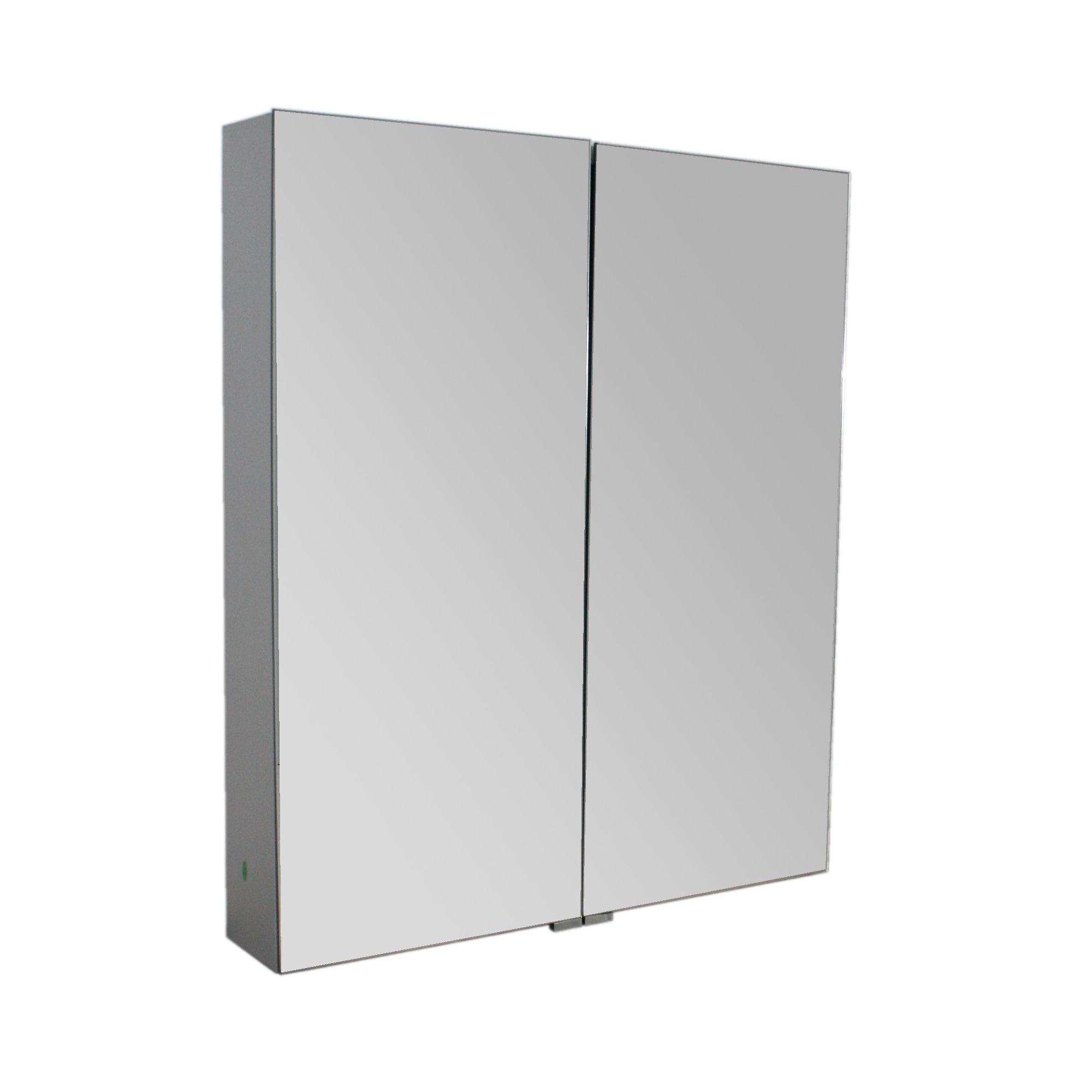 Aluminium-Spiegelschrank G600 2-türig - innen und außen Spiegel - 60 x 70,3 x 12,6 cm
