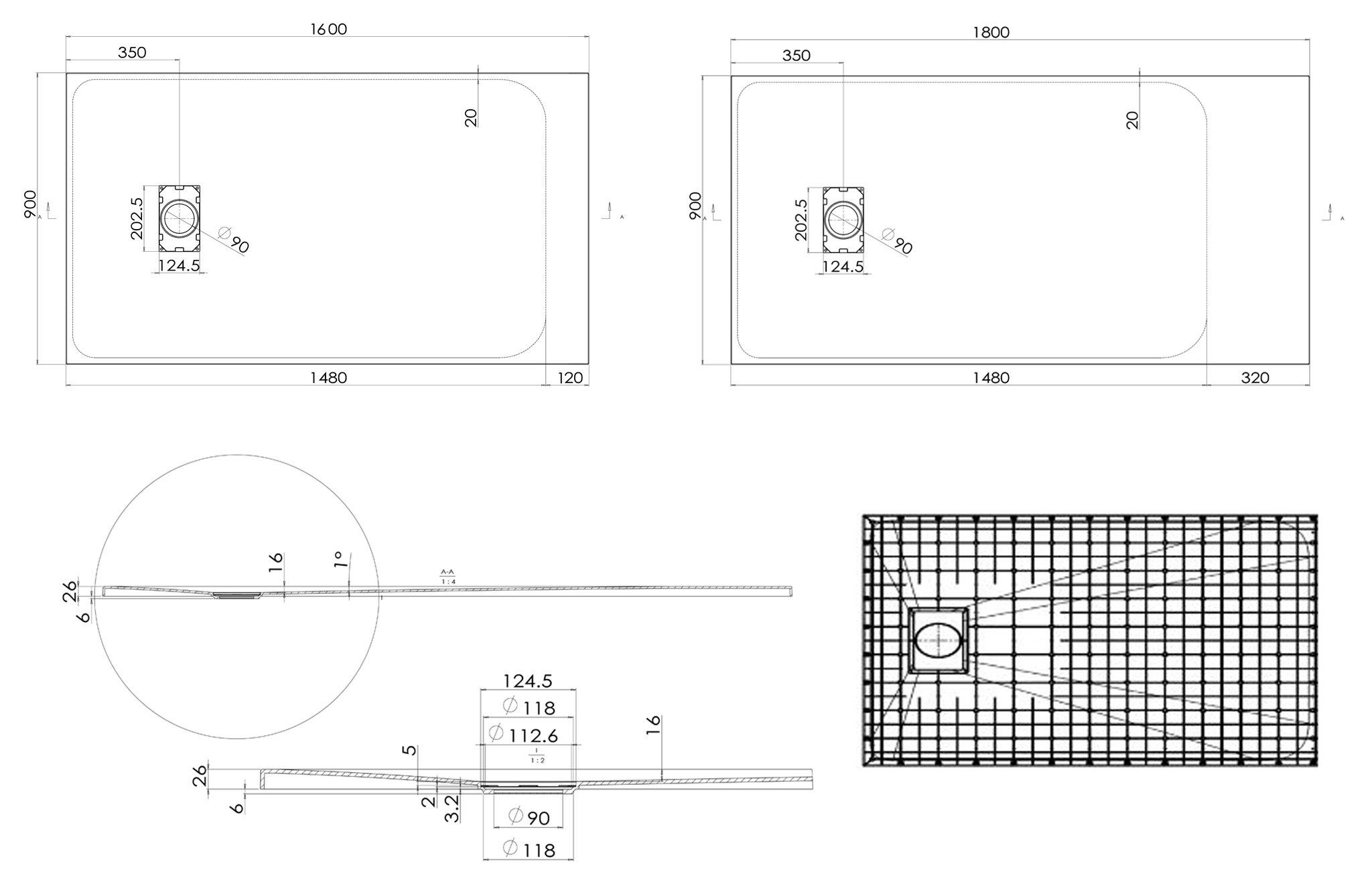 Duschtasse Duschwanne rechteckig GT-Serie aus SMC - Breite 90 cm - Länge und Zubehör wählbar zoom thumbnail 6