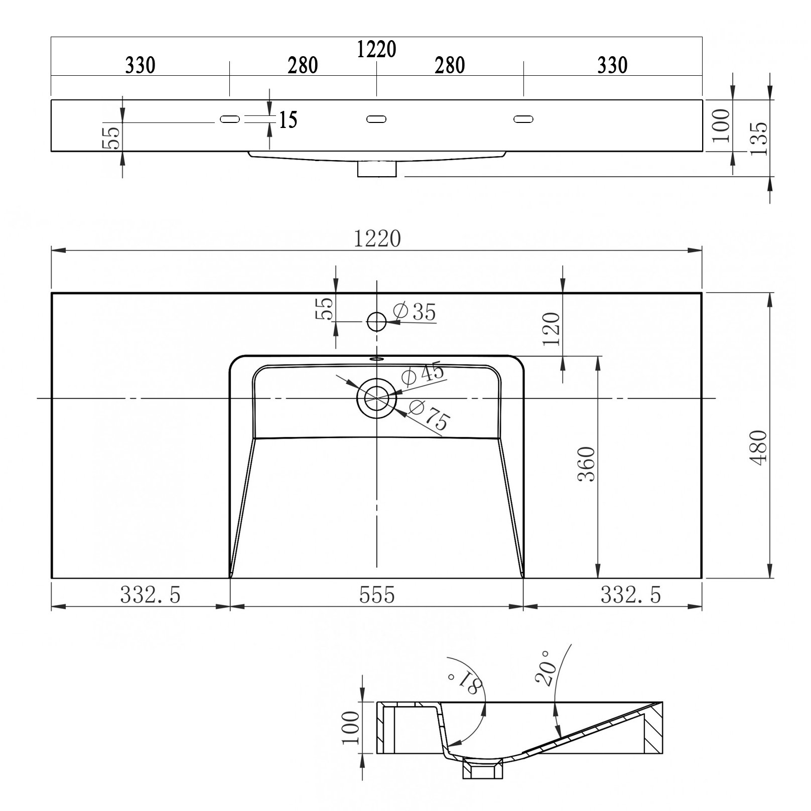 Wandwaschbecken BS6036 in Weiß - 122 x 48 x 13,5 cm  zoom thumbnail 6