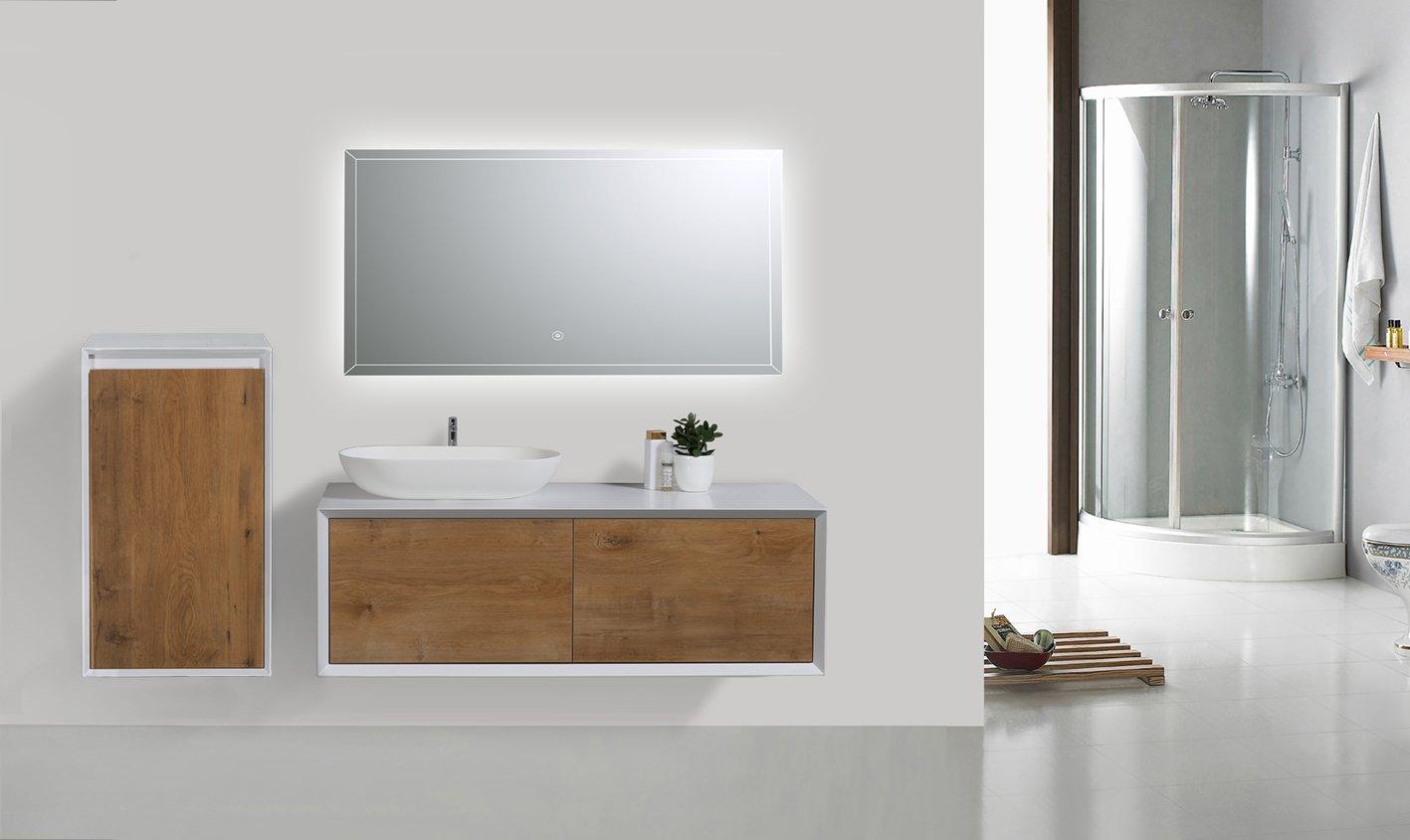 Badmöbel Fiona 1200 Weiß matt - Front Beton- oder Eiche-Optik - Seitenschrank, Waschbecken und Spiegel optional